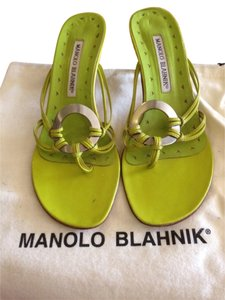 Manolo Blahnik Bright Lime Green Sandals