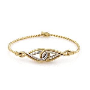 Dior 18k Two Tone Gold Infinity Style Wire Bangle Bracelet