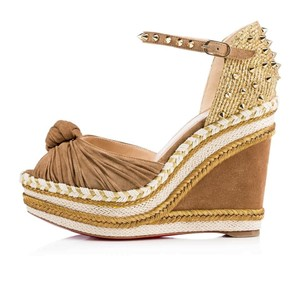 Christian Louboutin Platform Madcarina Suede Cappuccino (Light Brown) Wedges