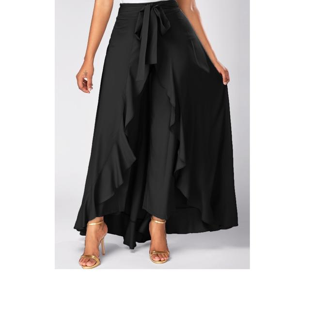 Top Gold & Diamond Jewelry Black Tie Waist Zipper Ruffle Palazzo Pants Size 8 (M, 29, 30) Top Gold & Diamond Jewelry Black Tie Waist Zipper Ruffle Palazzo Pants Size 8 (M, 29, 30) Image 1