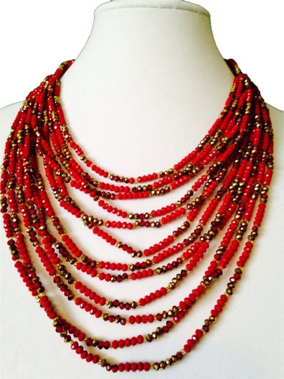 Nakamol NWOT Multi-Strand Faceted Shades Of Ruby Necklace