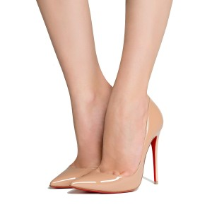 Christian Louboutin Classic Patent Leather Sexy Nude Pumps