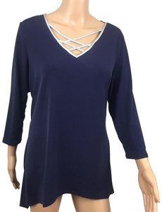 NY Collection Top Navy Blue