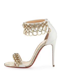 Christian Louboutin Sandals Gypsandal Size 38 White Gold Pumps