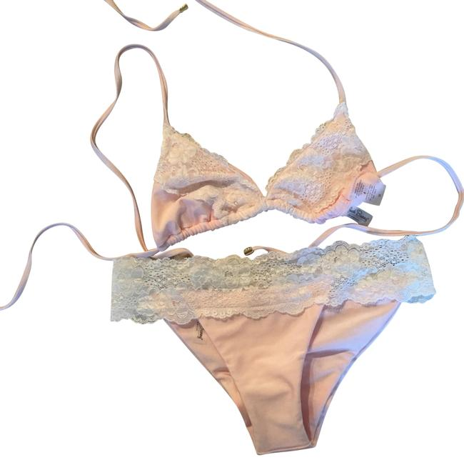 Item - Baby Pink and Cream Lace Bikini Top Size 8 (M)