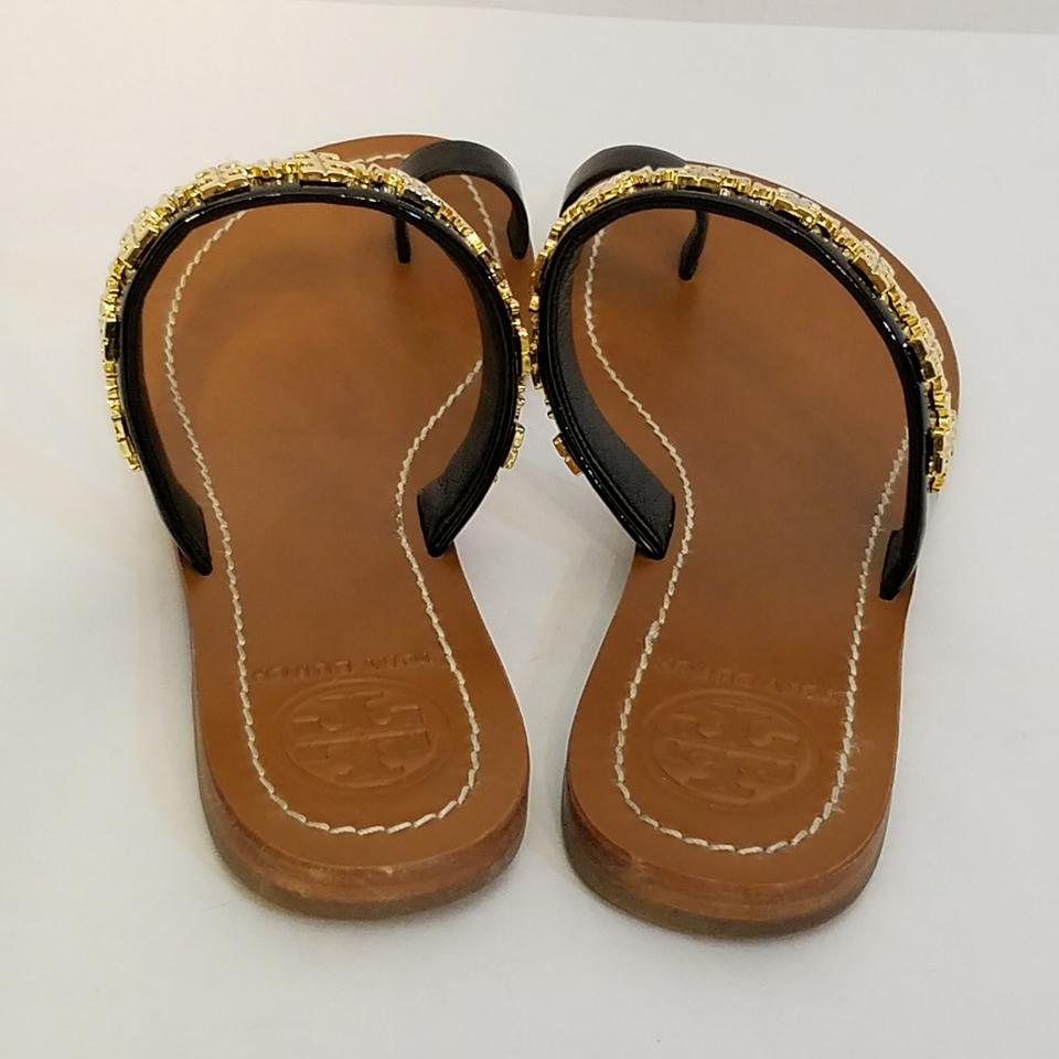 bba2b6dbb8c Tory Burch Black Val Toe Ring Flat Sandals Size US 7.5 Regular (M