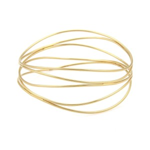 Tiffany & Co. Peretti 18k Yellow Gold 5 Rows Wire Wave Bangle Bracelet