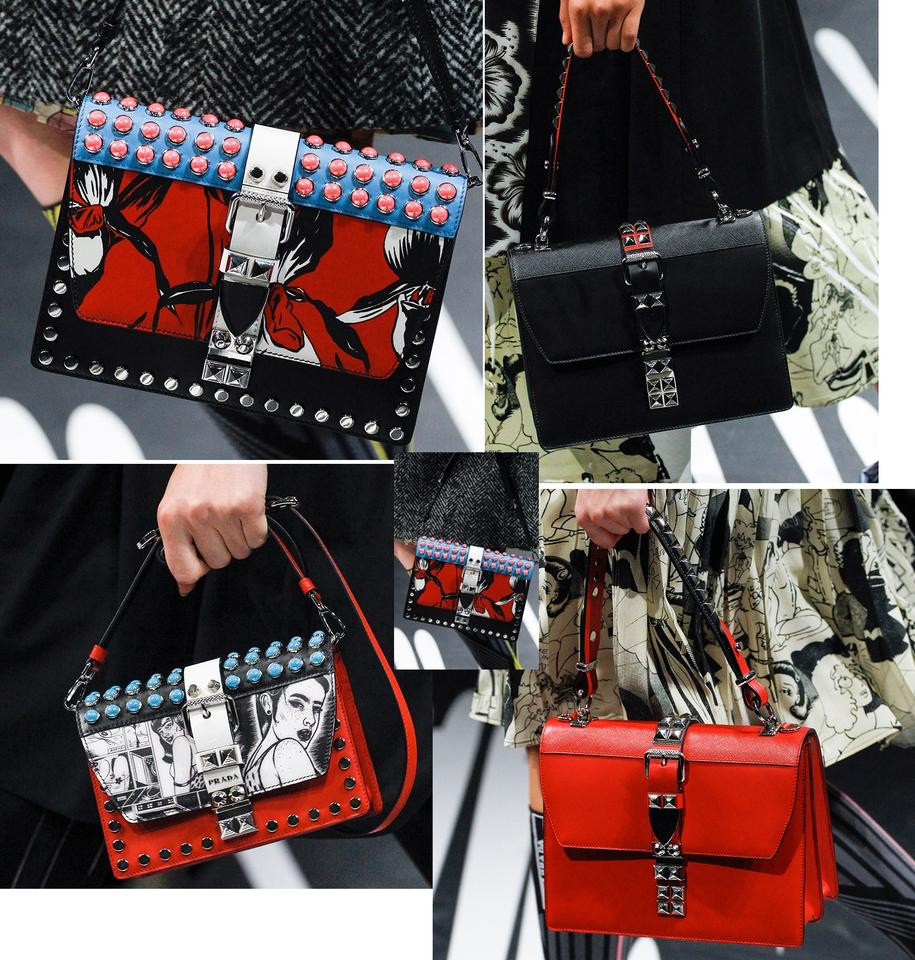 7ea766b3ed Prada Elektra Studded Printed S S 2018 Runway Black   Red City Calf ...