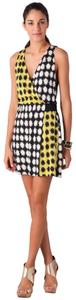 Diane von Furstenberg short dress Black/White/Yellow Dvf Silk Jersey on Tradesy