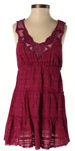 Free People Sleeveless Embellished Floral Embroidered Sheer Tunic