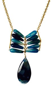 Panacea Cache NWOT Large Blue Agate Gemstone & Gold Necklace