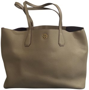 Tory Burch Leather Professional Minimalist Slouchy Tote in French Gray/Purple Iris