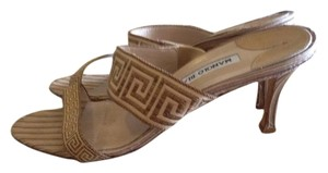 Manolo Blahnik Tan and Brown Sandals