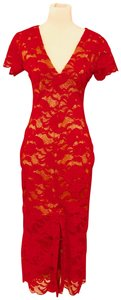AnaMaria Couture Lace Midi Party Form Fitting Dress
