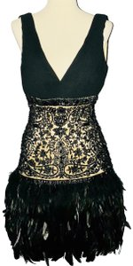 Sue Wong Feather Vintage Lace Beads Dress