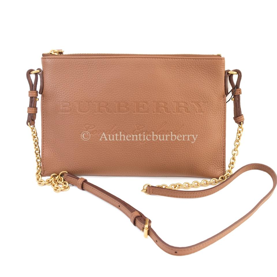 9f0c758db8b0 Burberry Peyton Small Wristlet Clutch Chestnut Brown Leather Cross Body Bag