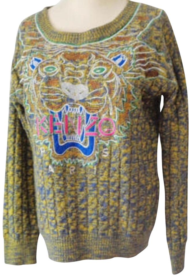 1f23cb21d53 Kenzo Tiger Head Cable Knit Multi Colored Sweater - Tradesy