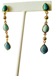 Lauren Ralph Lauren NWOT Teardrop Turquoise & Gold Earrings