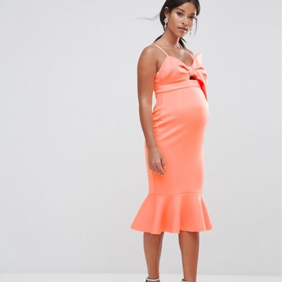 amazing quality shop for best how to choose ASOS Scuba Giant Bow Maternity Material Midi Formal Dress Size 6 (S)