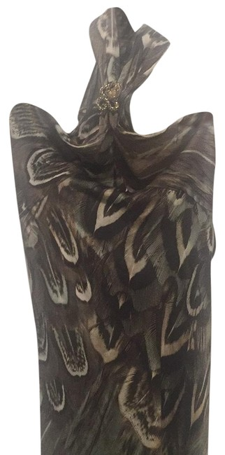 Item - Green Brown Long Night Out Dress Size 8 (M)