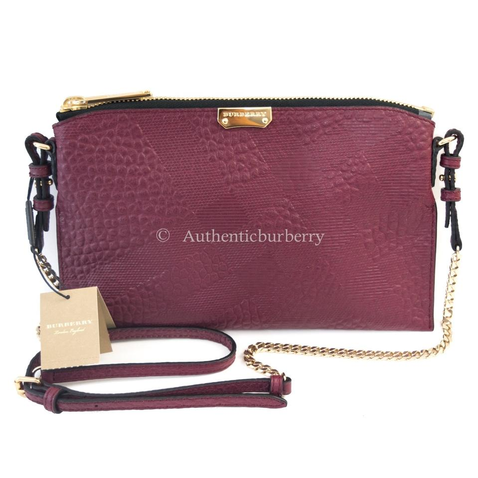 3a9b2089a840 Burberry Peyton Check Embossed Clutch Dark Plum Leather Cross Body ...