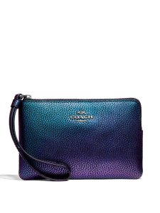 Coach Color Changing Rainbow Leather Gun Metal Wristlet in Hologram