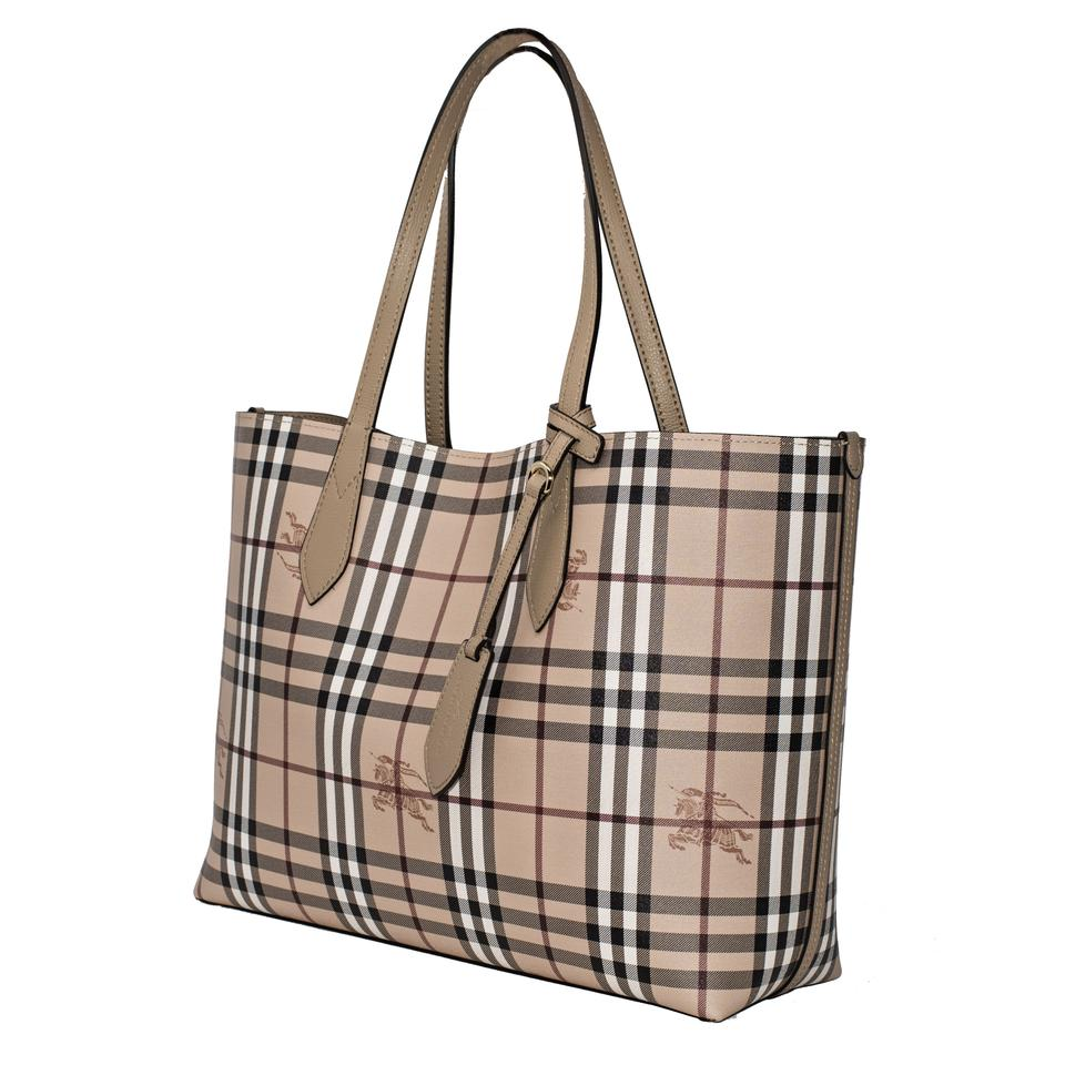 86754834ef76 Burberry Medium Lavenby Reversible Check And Mid Camel Leather Tote ...