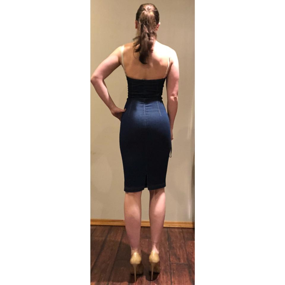 Dolce&Gabbana Blue D&g Denim Stretch Bodycon Pencil Mid-length ...
