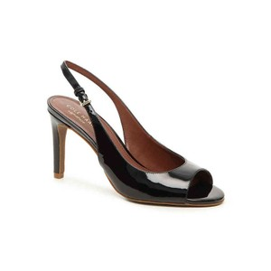 Cole Haan Patent Leather Open Toe Slingback Sandals Black Pumps