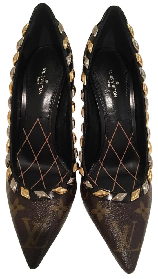 80e3728e35a6 Louis Vuitton Brown Eldorado Monogram Pumps Size EU 36.5 (Approx. US ...