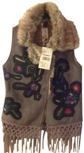 Desigual Embroidered Faux Fur Fringe Hem Crochet Vest