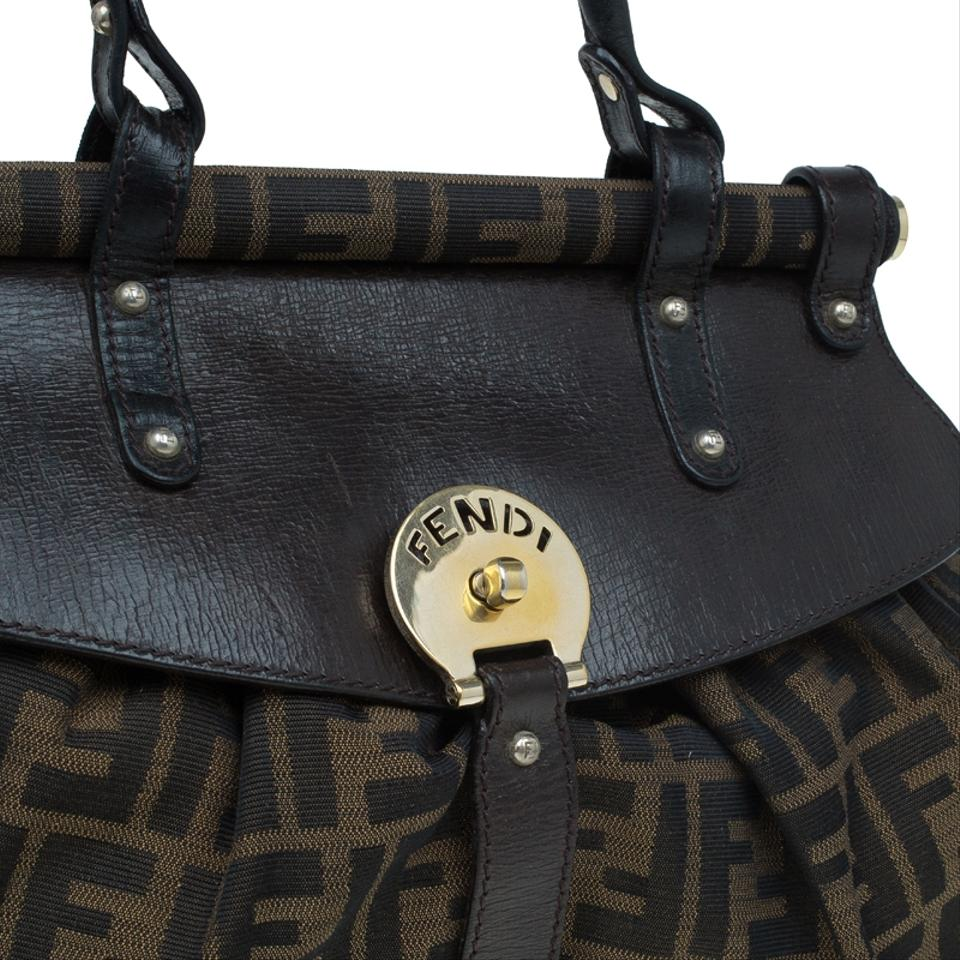 bb687bd6659a Fendi Tobacco Zucca and Leather Medium Magic Brown Canvas Hobo Bag - Tradesy