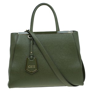 Fendi 2jours Saffiano Leather Tote in Olive Green