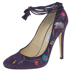 Jimmy Choo Embroidered Chelan Tie-up Suede Purple Pumps