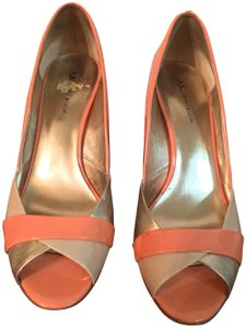 Anne Klein Peep Toe Spring Flirty Metallic Coral/Gold/Tan Pumps