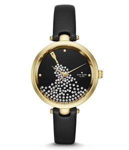 Kate Spade Kate Spade Women's Gold & Black Leather HOLLAND CHEERS Watch KSW1234
