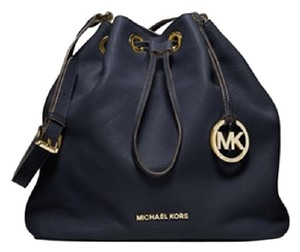 Michael Kors Messenger Draw String Pebbled Gold Purse Shoulder Bag