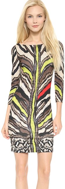 Item - Multicolor Tiger Printed Silky 3/4 Sleeve Short Casual Dress Size 2 (XS)
