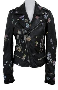 IRO Black with Multi-Color Paint Leather Jacket
