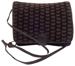 ef26258304f3a Bottega Veneta Clutch Butterfly Or Vintage Black Suede Leather Cross ...