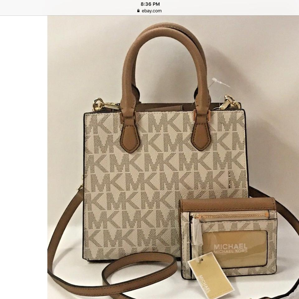 089cf4e0efe92b Michael Kors *** Christmas Special ***. Bridgette Signature Series with  Matching Wallet Vanilla Acorn Leather and Pvc Satchel - Tradesy
