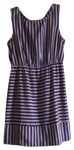 Pink Owl short dress Blue/Taupe Stripe on Tradesy