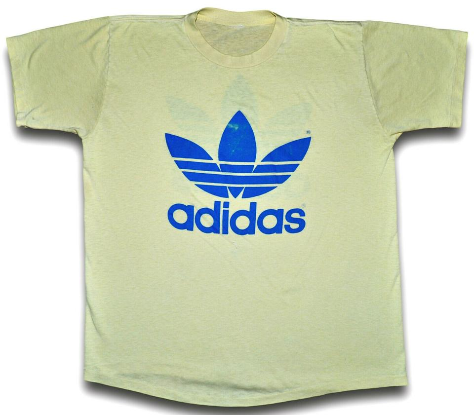 a68f94bbd17de Pale Yellow Vintage 80s Adidas Trefoil Double Sided / Blue Thin Soft Faded  Tee Shirt Size OS (one size) 51% off retail