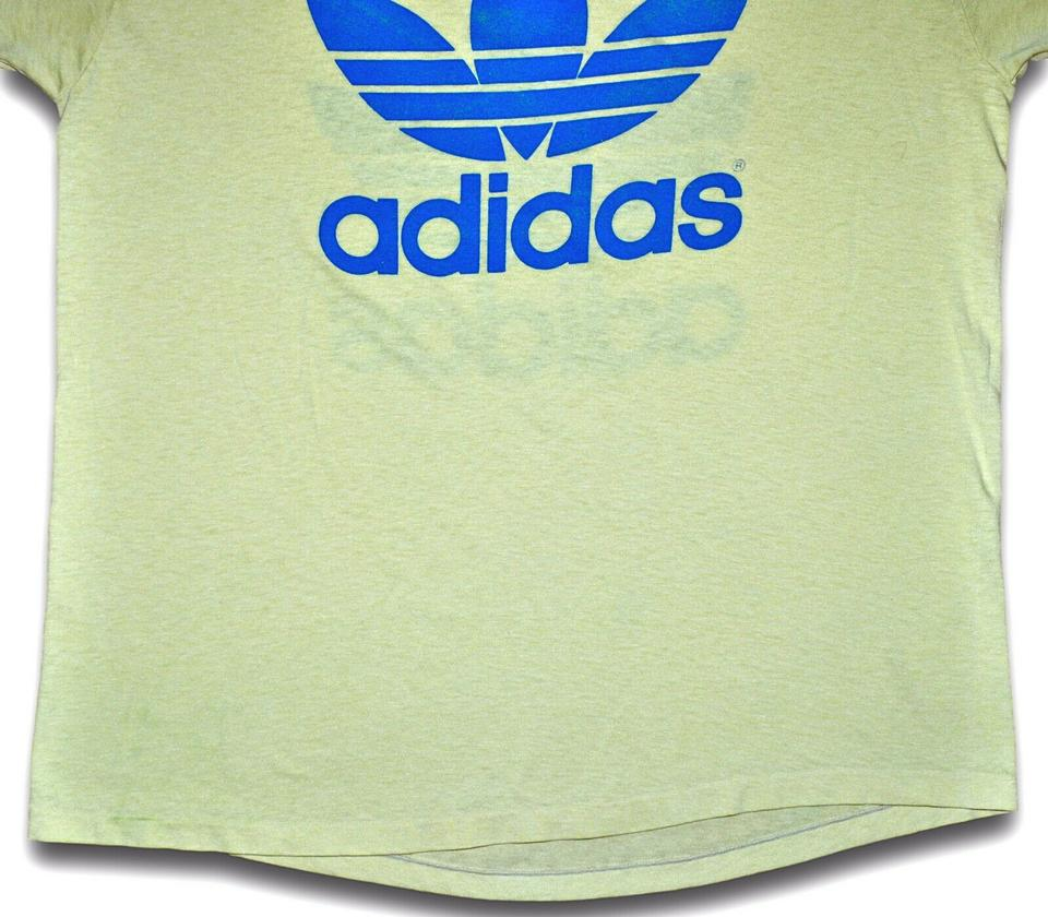 c8b73e71dee82 Pale Yellow Vintage 80s Adidas Trefoil Double Sided / Blue Thin Soft Faded  Tee Shirt Size OS (one size) 51% off retail