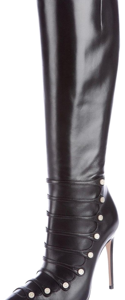 c5bd80772 Gucci Black Aneta Leather Button-detail Knee Boots/Booties Size EU ...
