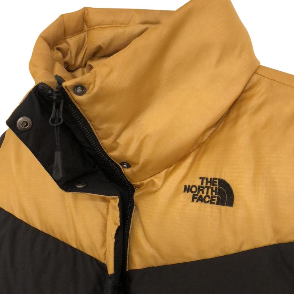The North Face Black with Gold Detail Mid-length Nuptse Jacket Coat ... 320df4d2f