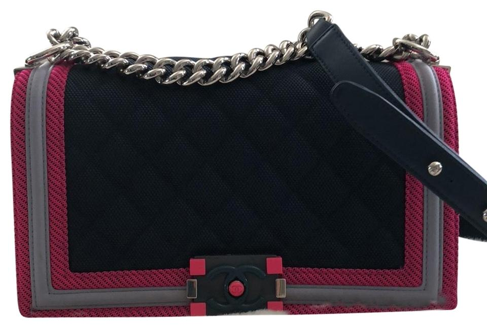 a3934d118d71 Chanel Boy Dark Navy with Fuchsia and Grey Border Canvas Quilted Shoulder  Bag 6% off retail