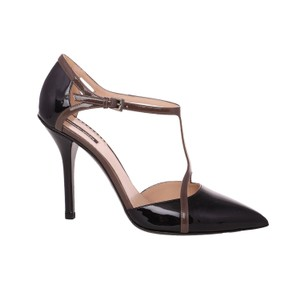 Giorgio Armani Pumps Dress Patent Leather Ankle Strap Black & Gray Sandals