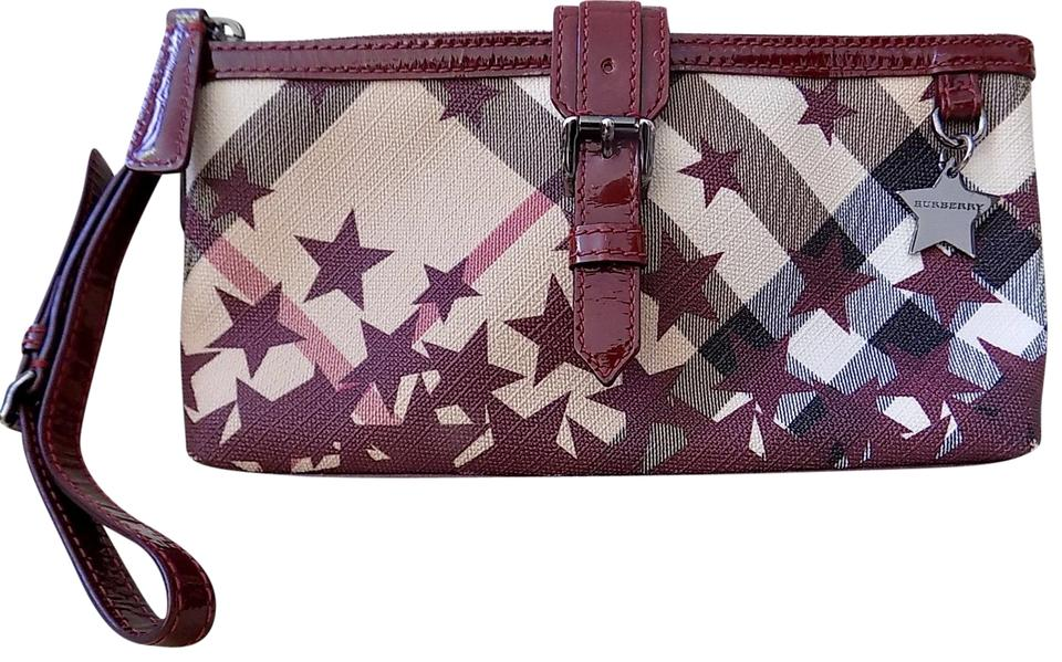 89b0f9d290eb Burberry Supernova Wine Red Plaid Patent Leather   Coated Canvas ...