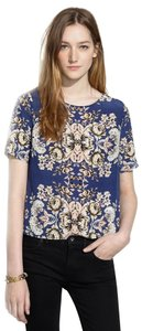 Madewell J. Crew Brocade Top Blue Floral Pattern